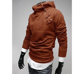 Slim Solid Rabbit Hair Neck Side Zipper Pullover Warm Long Sleeve Fleece Men Sweatshirt X00010GCHJ 2013 free shipping