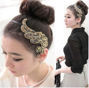 South Korea authentic hairpin head hoop wide-brimmed hairpin headdress crystal beads jewelry hair phoenix hair band