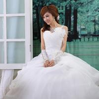 2014 Direct Selling Time-limited Natural Floor-length Love Sweet Princess Feather One Shoulder Flower Strap Bride Wedding Dress