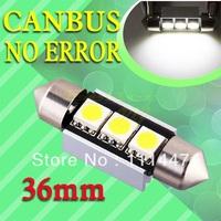 Freeshipping  36mm 3 SMD canbus festoon White Dome Festoon CANBUS Error Free Car 3 LED Light Bulb Lamp