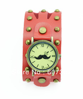 Wholesale rivet wide leather mustache watch beard wristwatch+5 colors 10pcs/lot free shipping