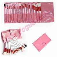 Pro 18PCS Makeup Foundation Eyeshadow Mascara Lip Brushes Set Eyebrow Comb Eyeshadow with Roll up Pink Case