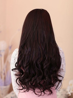 "2013 New product,"" 22inches Silky Wavy Remy Clip in blended Human Hair Extensions Dark Brown#2t33 ,free shipping"