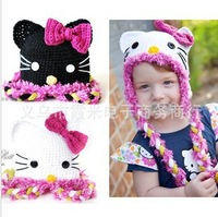 Brand! Cartoon Hello Kitty Kids Girls Hat /Flower Hat / Knitted Hat 20/Lot ; Cute Flower Design ; Best Gift For 1-6Year Girl