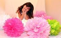 15Pcs 20cm/8 inch Tissue Paper Pom Poms Party Wedding Shower Flower Balls Decoration 27 Colors Free Shipping