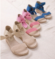 [(My God)] Shiki-girl girl canvas strap hemp rope knitted women's wedges shoes 2014 pink beige blue plus size 41 42 43 Sandals
