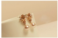 Crystal pearl earrings korean style women  beads earings fashion 2014 free shipping