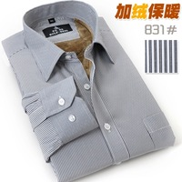 Commercial shirt slim male plus velvet thickening thermal stripe long-sleeve shirt