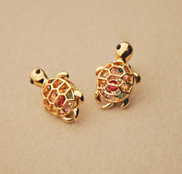 Min order $15(mixed items) Fashion ladies Luxury cute little hollow colors stone turtle stud earring.freeshipping