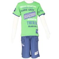 Clothing set Summer 2014 kids boys sets short sleeve green t-shirts and sport shorts blue pants size 6-14 Free Shipping 2482K2