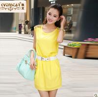 2013 summer chiffon one-piece dress female sweet diamond sleeveless tank dress slim hip