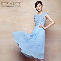 Medium-large women's l short-sleeve lace chiffon full dress one-piece dress summer