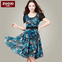 Summer 2013 women's slim plus size elegant lace chiffon one-piece dress short-sleeve