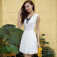 Summer 2013 women's white slim chiffon one-piece dress summer chiffon dress
