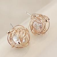 Big Promotion 11.11 Min order 10usd, Fashion Ladies 2014Small Balls Nest Zircon Stud Earring