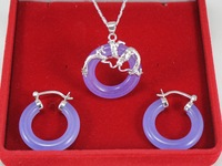 Free shipping Fashion women jewelry set Silver Plated Dragon Jade&sapphire&Agate&Ruby Necklace Earring