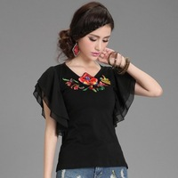 original design summer women's casual ethnic embroidery flounced chiffon round neck short sleeve T-shirt folk style WFS027