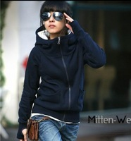 2013 fashion Women Spring hoodies High Neck turtleneck hooded fleece set sweatshirt hoodie outerwear clothing