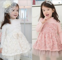 Free shipping 2013 autumn children's clothing female child long-sleeve rose one-piece dress