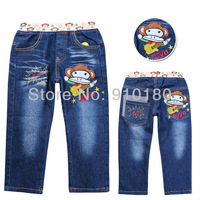 Free shipping 5pcs/lot baby boys cartoon monkey denim jeans pants children's fashion spring autumn casual trousers for kids