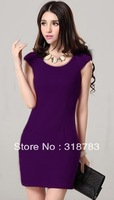 2013 Summer Women Slim Sexy Fashion Round Neck Dress Lady Cute Empire Solid Color Business Casual Dress Promotion Free Shipping