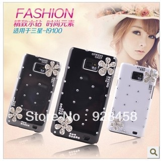 Free shipping, luxury rhinestone protective case  For samsung   i9100, US$10/pcs