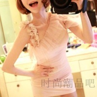 2013 summer women's sweet princess sexy oblique petals gauze patchwork short-sleeve dress