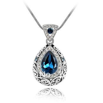 D&M Wholesale Fashion Europe Vintaged Classic Dream Black Water Drop Necklace K097