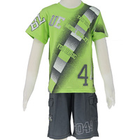 Summer 2014 Kids set for boys green t-shirts and sport short pants 2pc size 6-14 wholesale/retail  Free Shipping! 2550K2