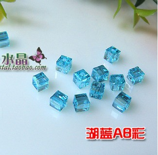 4mm Crystal Beads, Wholesale 1000Pcs/lot Light Blue AB Square Crystal Loose Beads For Jewelry DIY Making With Free Shipping(China (Mainland))