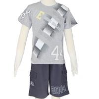 2014 Boy summer clothes set grey t-shirt and pants size 6-14 Free Shipping 2550K5