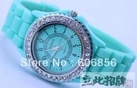 2014 Lady Quartz Watch Sport  Causal Geneva Wristwatch Diamonds Crystal Jelly Colorfull Watches  2pc/lot  Cheap Price A0018