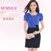 Summer new arrival 2013 women's color block slim hip ol chiffon short-sleeve dress