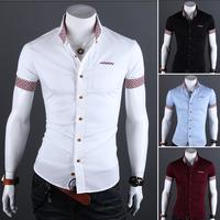 man shirt 2014 summer male solid color metal bag buckle short sleeve shirt, men casual shirt mens dress shirts