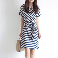Elegant professional women slim stripe one-piece dress summer elegant