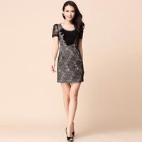 2013 quality women's silk elegant hot-selling o-neck short-sleeve slim waist one-piece dress