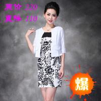 2013 women's summer slim small suit jacket print plus size one-piece dress twinset