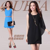 With belt fashion high quality one-piece dress summer one-piece dress elegant slim women's