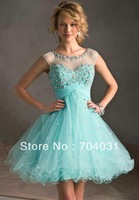 Stunning Short Cocktail Dresses green Tulle with applique beaded and layers skirt
