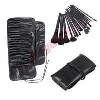Pro 18PCS Makeup Foundation Eyeshadow Mascara Lip Brushes Eyebrow Comb Eyeshadow Eyebrow Shadow Cosmetic Brush Kit +Black Case