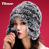 Tlove solid color rex rabbit hair fur hat ear protector cap female rabbit fur hat winter fashion millinery