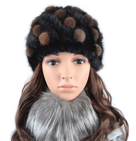 2012 women's mink knitted cap women's fur hat ball cap winter hat thermal