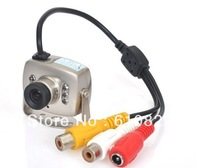 Wholesale 4pcs/lot, 420TVL 1030P Color CMOS 6LED Mini Micro Wired IR CCTV Camera With Audio Free Shipping