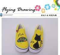 Strapless low hand-painted shoes canvas shoes female shoes lazy casual shoes male shoes