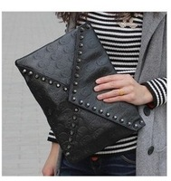 2013 messenger small bag punk rivet skull  envelope day clutch bag street embossed handbag cross body bags free shipping