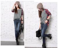 New Fashion Women Loose Cotton Plaid Long Sleeve Blouse Top Shirt