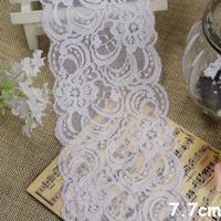 Pretty  off White  Elastic stretch  Lace Trim , DIY Sewing DOLL head band Craft    7.7cm