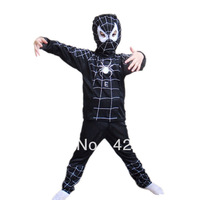 Hot Halloween Spider Man Spider-Man black Suit Clothes Apparel Spiderman Costume Children Kids Boys New Free Shiping HY--00012