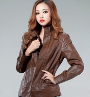 2013 new fashion women's leather jacket brand genuine sheepskin coat for women  top quality free shipping