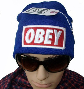 OBEY BOX LOGO beanie Hats one fit all most popular hearwear top quality blue !(China (Mainland))